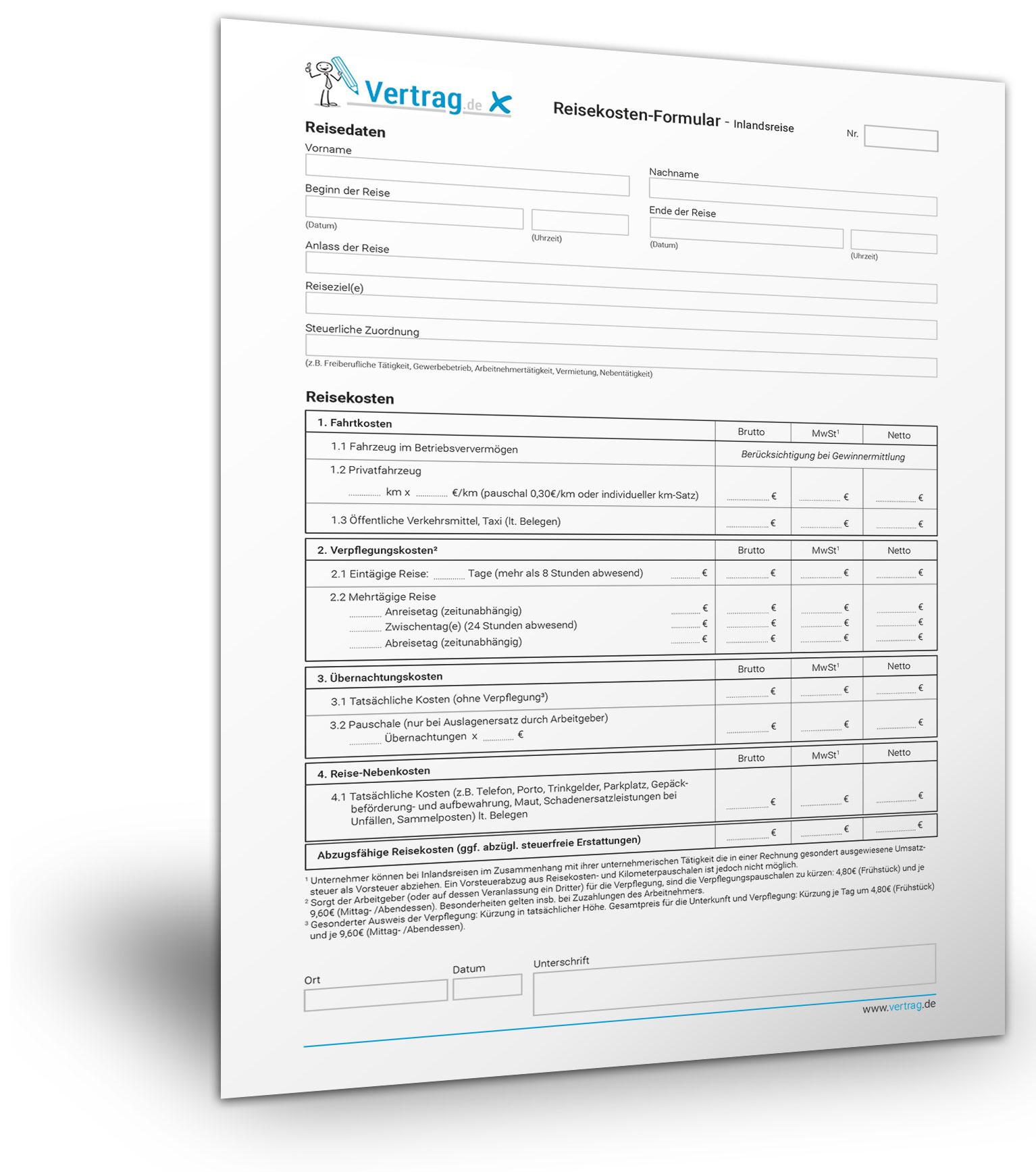 download fr reisekostenformulare fr das inland und ausland - Muster Reisekostenabrechnung